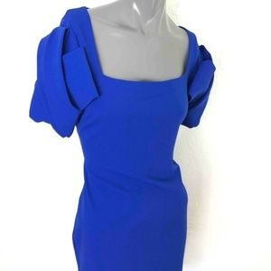 Badgley Mischka Origami Sheath Dress Cobalt Blue L